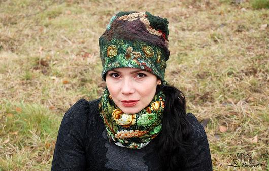 """Шапки ручной работы. Ярмарка Мастеров - ручная работа. Купить Валяная шапка """"Зеленые цветы"""". Handmade. Зимняя шапка, флис"""