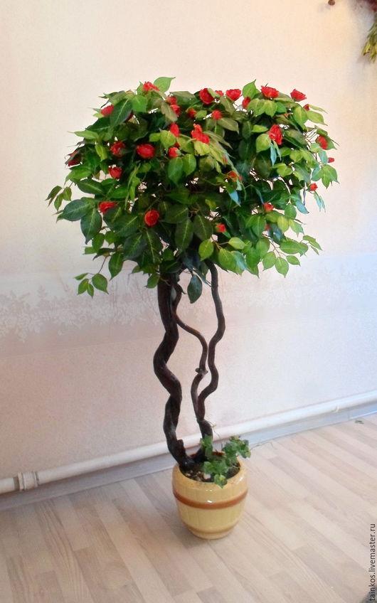 Деревья ручной работы. Ярмарка Мастеров - ручная работа. Купить дерево искусственное.. Handmade. Украшение для интерьера, красные цветы