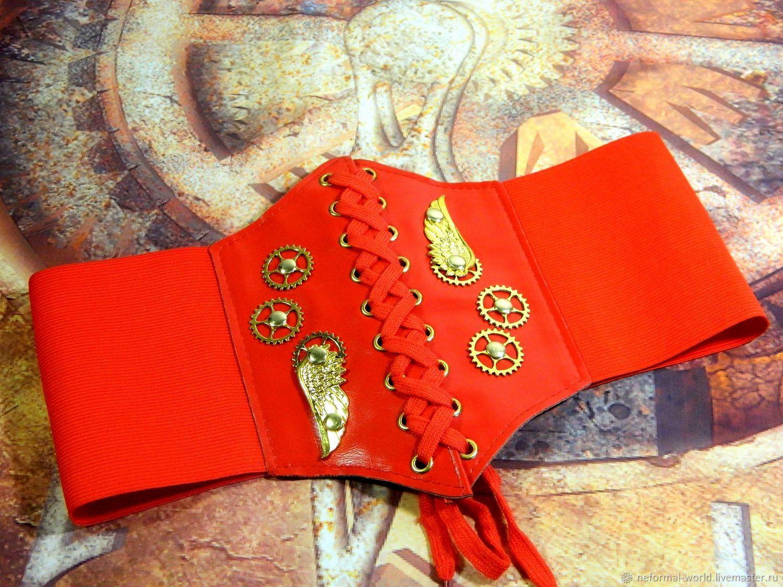 Mini corset made of eco-leather elastic band steampunk ' STIMPANK WING', Straps, Saratov,  Фото №1