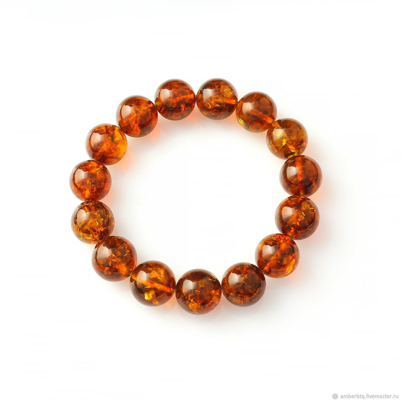 Amber bracelet 20 cm from cognac balls with a husk (14mm) on an elastic band, Bead bracelet, Kaliningrad,  Фото №1