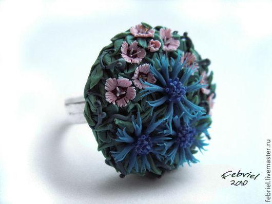 Кольца ручной работы. Ярмарка Мастеров - ручная работа. Купить Wildflowers ring. Handmade. Зеленый, гвоздика, полевые цветы