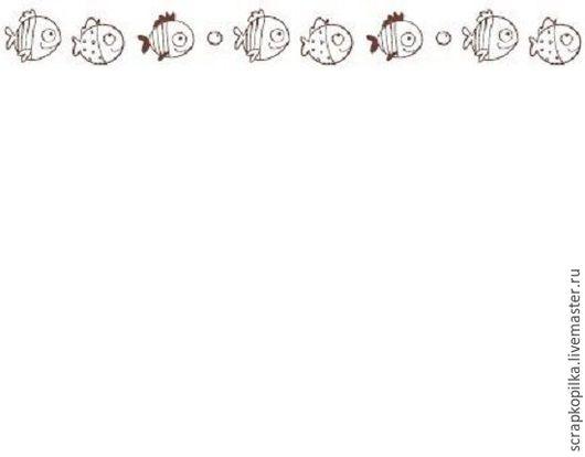 Открытки и скрапбукинг ручной работы. Ярмарка Мастеров - ручная работа. Купить Бумажный скотч с принтом. Basik&Co. Рыбки-2 15мм х 8м Scrapberry's. Handmade.