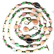 Украшения handmade. Livemaster - original item 140 cm long necklace rose quartz jade Swarovski earrings. Handmade.