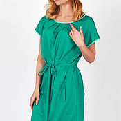 Одежда ручной работы. Ярмарка Мастеров - ручная работа Платье изумрудного цвета с поясом. Handmade.
