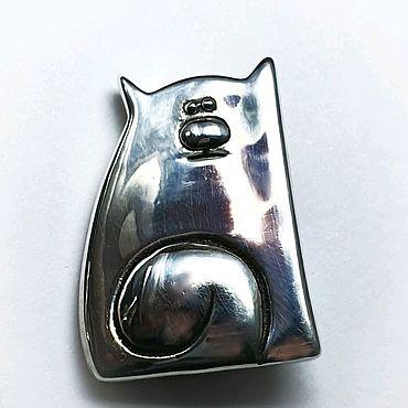 Украшения ручной работы. Ярмарка Мастеров - ручная работа Брошь из серебра кот. Handmade.