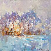 Картины и панно handmade. Livemaster - original item Winter forest landscape at sunset Original oil painting. Handmade.