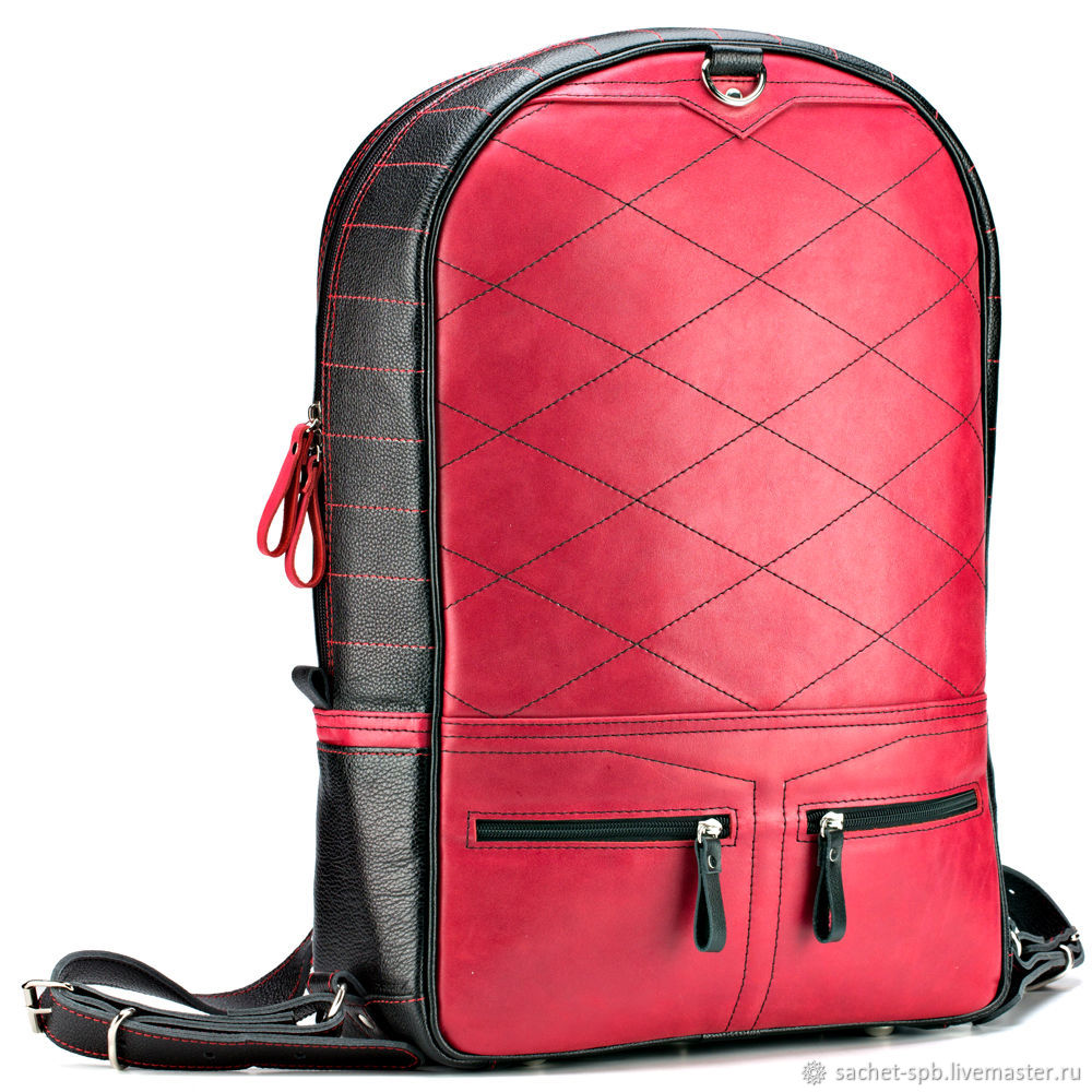 Leather backpack-transformer 'Poker' (black with red), Backpacks, St. Petersburg,  Фото №1