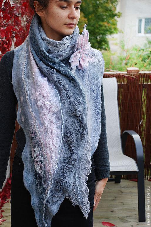 Шарфы и шарфики ручной работы. Ярмарка Мастеров - ручная работа. Купить Серо-розовый. Handmade. Серый
