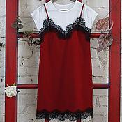Одежда ручной работы. Ярмарка Мастеров - ручная работа Платье комбинация с кружевом, платье кружево, платье-комбинация. Handmade.
