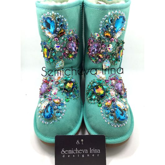 Обувь ручной работы. Ярмарка Мастеров - ручная работа. Купить Угги в стразах. Handmade. Угги, угги ручной работы