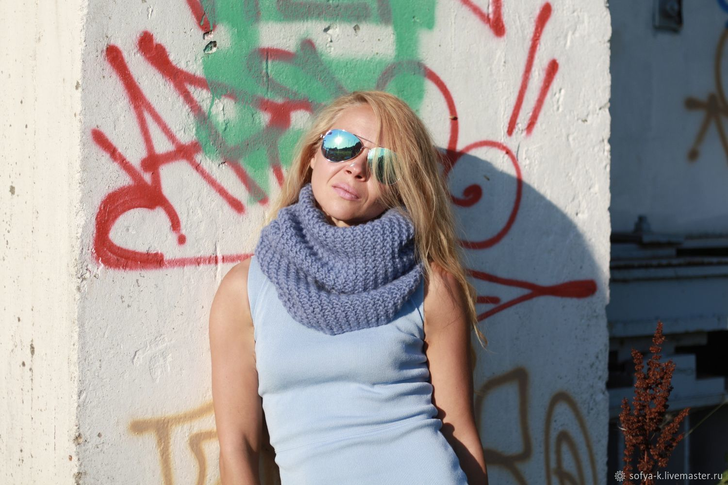 Voluminous Snood blue wool 'Bell', Snudy1, Moscow,  Фото №1