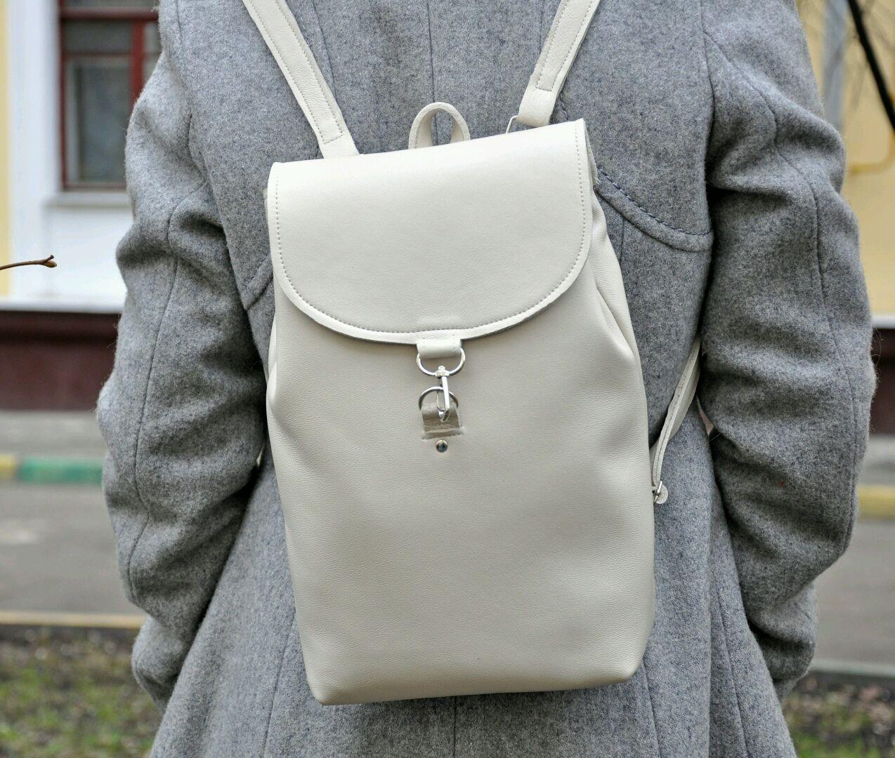 0665609b621c Рюкзаки ручной работы. Ярмарка Мастеров - ручная работа. Купить Белый  кожаный рюкзак ручной работы ...