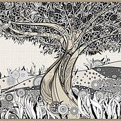 Аксессуары ручной работы. Ярмарка Мастеров - ручная работа Палантин женский Tree of life (арт. ks001-1). Handmade.