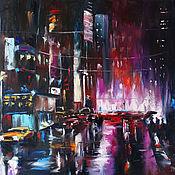 Картины и панно handmade. Livemaster - original item Night city oil on canvas, landscape 50/60 cm. Handmade.