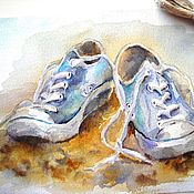 Картины и панно handmade. Livemaster - original item Watercolor Old friends (sneakers turquoise sand). Handmade.