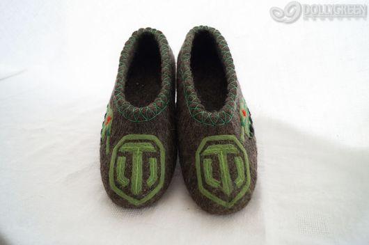"""Обувь ручной работы. Ярмарка Мастеров - ручная работа. Купить Валяные тапочки """"World of Tanks"""". Handmade. Темно-серый"""