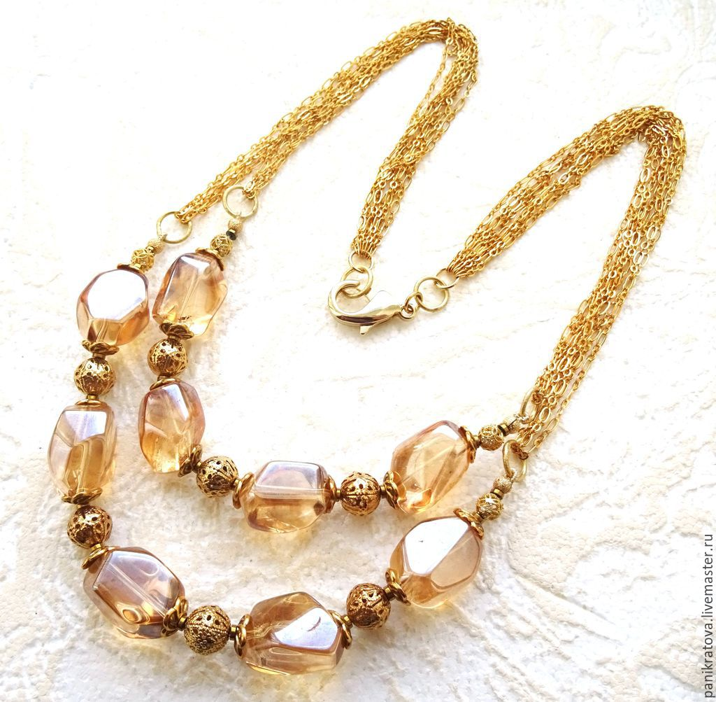 Necklace 'crystal Gold' (rock crystal, hematite), Necklace, Moscow,  Фото №1