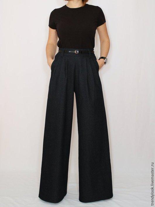 Брюки, шорты ручной работы. Ярмарка Мастеров - ручная работа. Купить Джинсовые брюки Черные широкие штаны женские офисный стиль. Handmade.