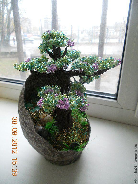 Цветущие деревья из бисера