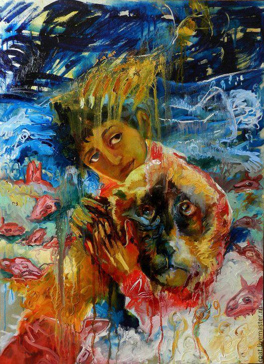 Символизм ручной работы. Ярмарка Мастеров - ручная работа. Купить Знамение. Handmade. Библейский сюжет, собака, фанерная доска