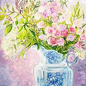 Картины и панно handmade. Livemaster - original item Oil painting: Flowers in a blue vase. Handmade.