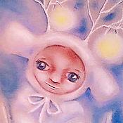 """Картины и панно ручной работы. Ярмарка Мастеров - ручная работа Картина пастелью """"В гости на Новый год"""". Handmade."""