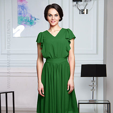 Одежда ручной работы. Ярмарка Мастеров - ручная работа Летнее зеленое платье с оборкой. Handmade.