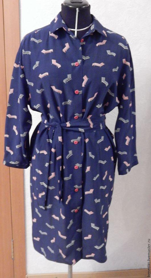 Платья ручной работы. Ярмарка Мастеров - ручная работа. Купить Платье-рубашка. Handmade. Тёмно-синий, платье рубашка