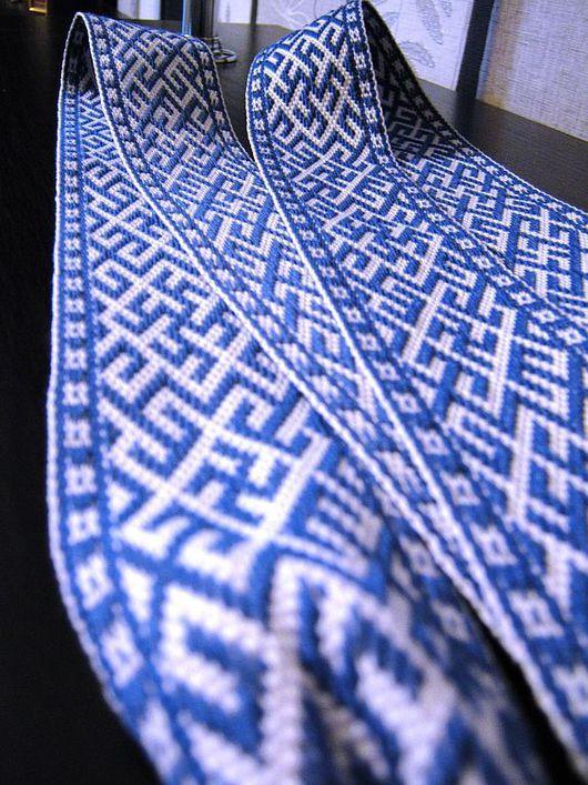"""Ткачество ручной работы. Ярмарка Мастеров - ручная работа. Купить Пояс-Кушак """"Инглия и Перунов Цвет"""" синий. Handmade. Пояса"""