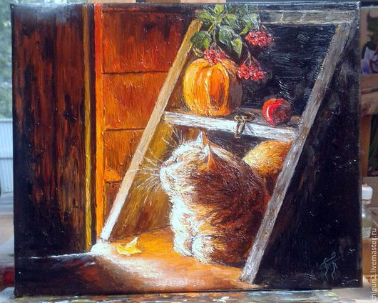 Животные ручной работы. Ярмарка Мастеров - ручная работа. Купить Кот. Handmade. Картина маслом, кошка, Рябина, яблако