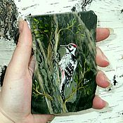 Сувениры и подарки handmade. Livemaster - original item Magnet stone Woodpecker a single instance of the Magnet of Jasper. Handmade.