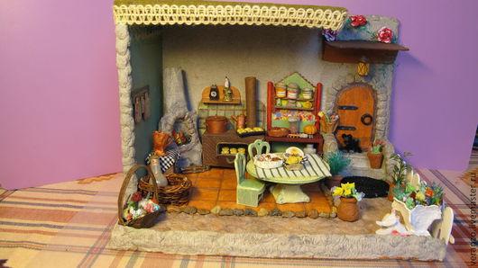 Кукольный дом ручной работы. Ярмарка Мастеров - ручная работа. Купить Летняя кухня. Румбокс. Handmade. Румбокс, кухонный интерьер