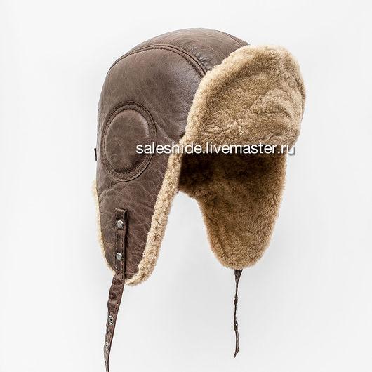 Шапки ручной работы. Ярмарка Мастеров - ручная работа. Купить Мужская меховая шапка Авиатор из меха овчины. Handmade. Коричневый
