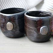 Посуда handmade. Livemaster - original item Pair of black ceramic cups with totem. 300 ml for all drinks. Handmade.