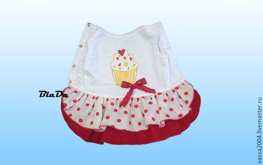 """Одежда для собак, ручной работы. Ярмарка Мастеров - ручная работа. Купить Платье """"Воздушный десерт"""". Handmade. Ярко-красный, болонка"""