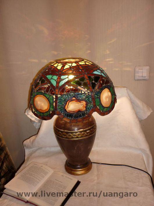 Освещение ручной работы. Ярмарка Мастеров - ручная работа. Купить Лампа с агатами. Handmade. Стекло цветное