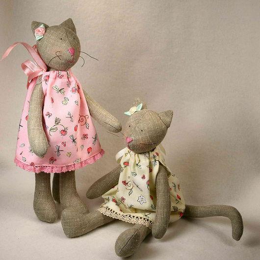 Куклы Тильды ручной работы. Ярмарка Мастеров - ручная работа. Купить Тильда кошка малышка. Handmade. Тильда, двое, лён
