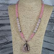 Украшения handmade. Livemaster - original item Necklace with a pendant of rose quartz