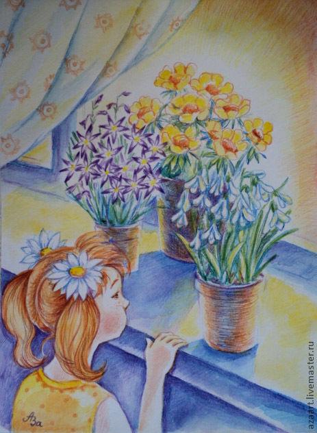 Картины цветов ручной работы. Ярмарка Мастеров - ручная работа. Купить Графика рисунок Весна на окошке. Handmade. Желтый