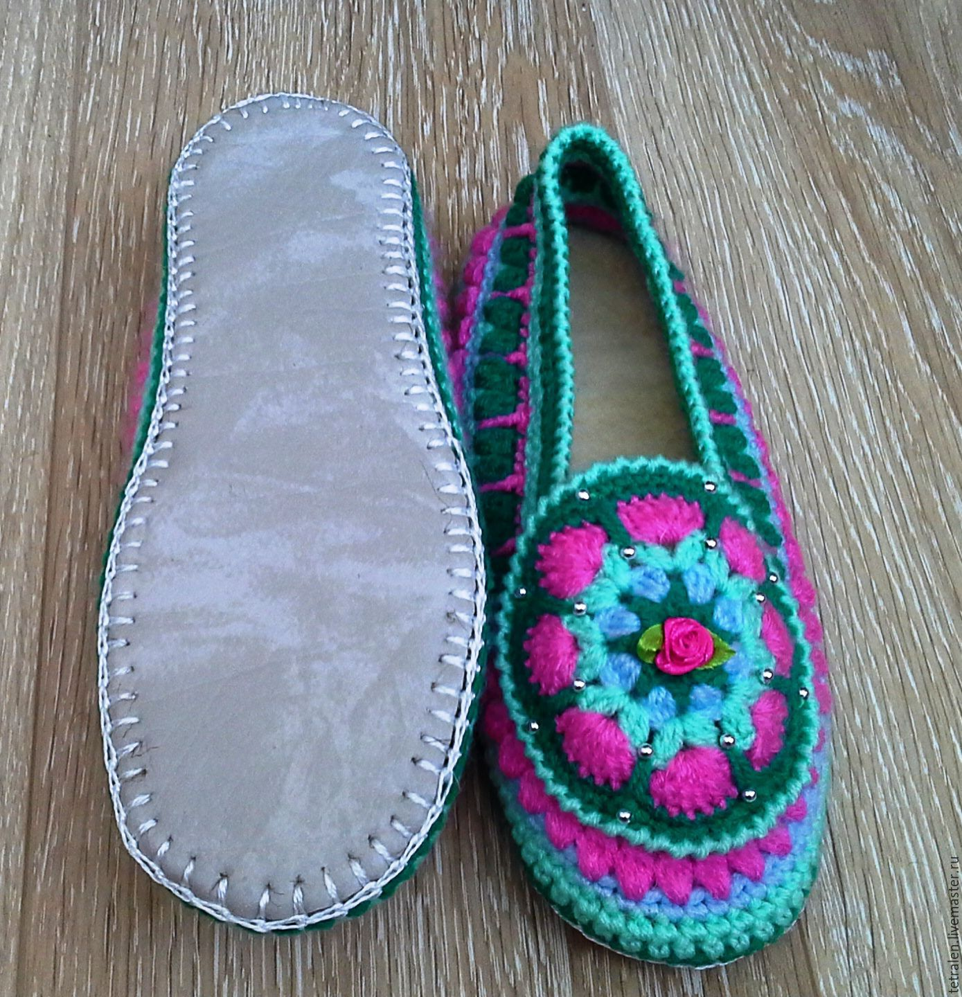 Knitting Pattern For Slippers With Soles : Buy SLIPPERS KNITTED Spring leather sole on Livemaster online shop