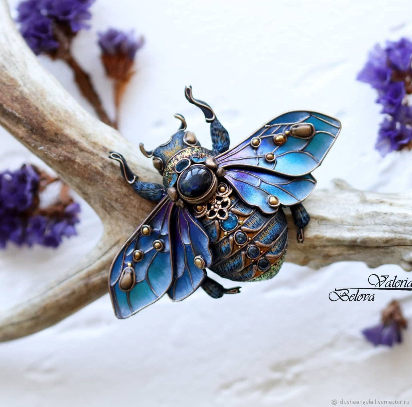 Brooch-pin: ' Guardian of the summer stars ' bumblebee, insect, Brooches, Vladimir,  Фото №1