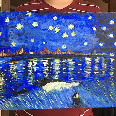 Картины и панно ручной работы. Ярмарка Мастеров - ручная работа Картины: Звёздная ночь над Роной. Handmade.