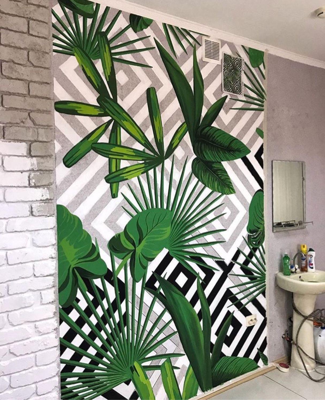 рисунок на стену фото помощью первоцветов можно