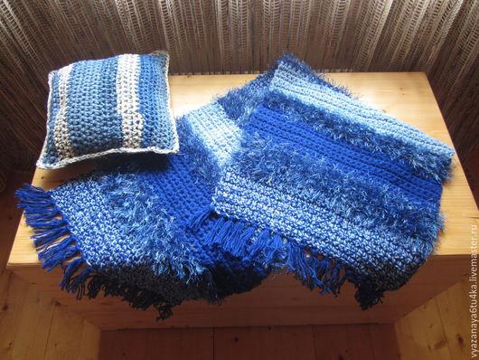 """Текстиль, ковры ручной работы. Ярмарка Мастеров - ручная работа. Купить вязанный коврик """"Синий  пушистик"""". Handmade. Тёмно-синий"""