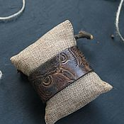 Bead bracelet handmade. Livemaster - original item Leather bracelet, embossed.Owl. Handmade.