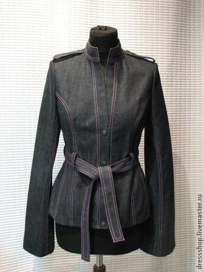 Пиджаки, жакеты ручной работы. Ярмарка Мастеров - ручная работа. Купить Джинсовый пиджак с контрастной отстрочкой. Handmade. Синий