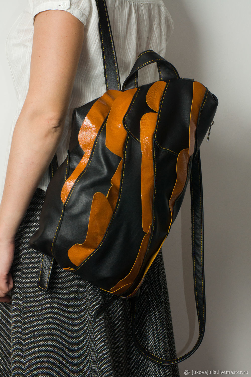 Patchwork backpack, genuine leather, black and orange, Persimmon slices, Backpacks, Stavropol,  Фото №1