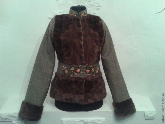 Верхняя одежда ручной работы. Ярмарка Мастеров - ручная работа. Купить куртка из меха. Handmade. Бежевый, куртка меховая, твид