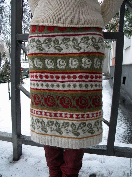 Юбки ручной работы. Ярмарка Мастеров - ручная работа. Купить Вязаная юбка с цветочным орнаментом. Handmade. Разноцветный, теплая одежда