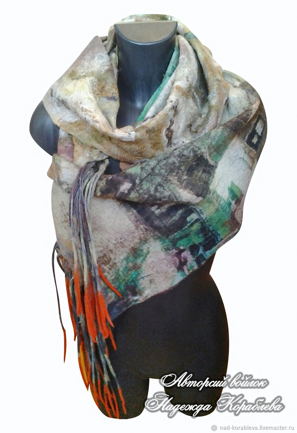 ' Autumn in the city ' felted Merino, Scarves, Moscow,  Фото №1